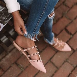 Blush pink mules! Gold studded pointed toe slides!
